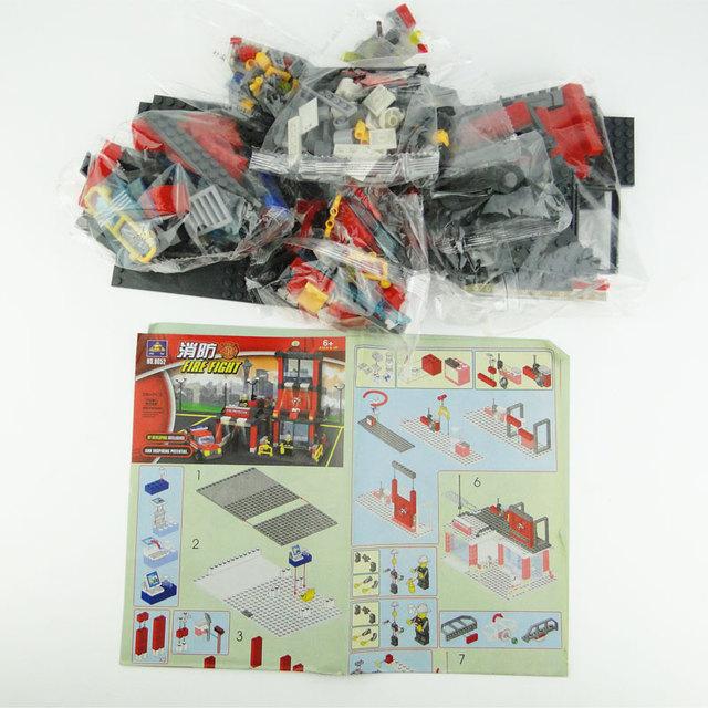 Kazi City Fire Hall Casa Construction Brinquedo Menino DIY Blocks Enlighten Kids Toys Educational Jenga Brick Original Box