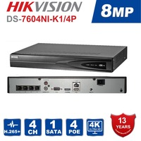 Hikvision DS 7604NI K1/4P 4CH POE Embedded Plug Play 4K PoE NVR for IP Camera CCTV System Support Third party Network Camera