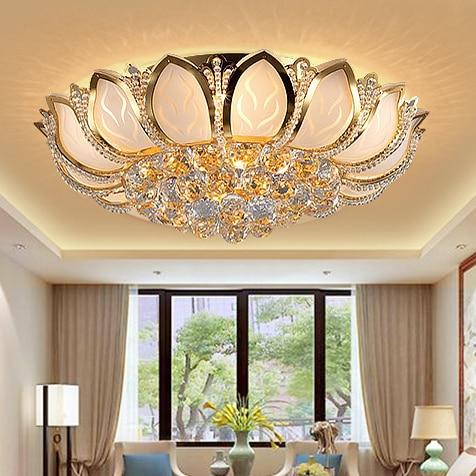 Modern Lotus virág kristály mennyezeti lámpák arany kristály - Beltéri világítás