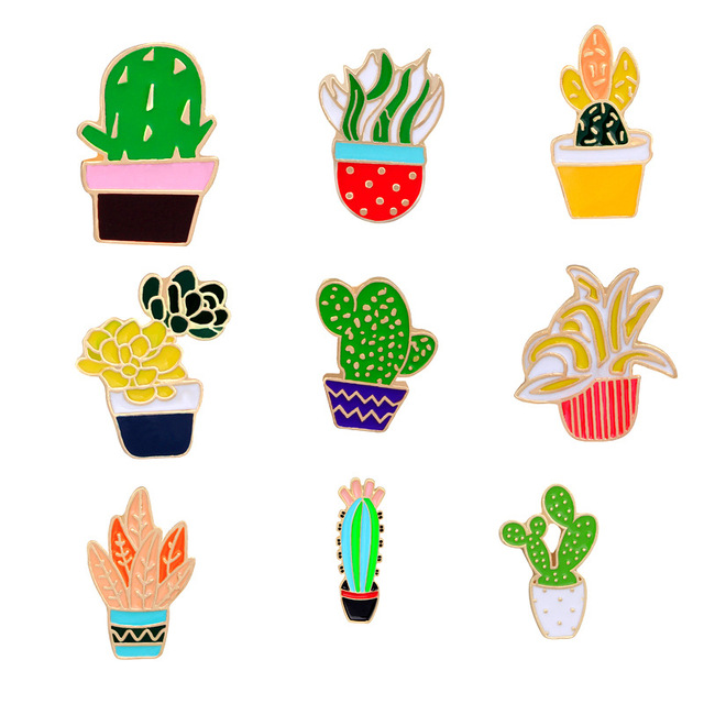 Green Plants and Potted Cactus Brooch