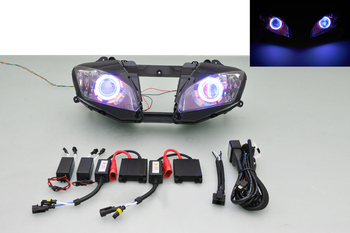 Wotefusi Motorcycle Headlight For Yamaha YZF R6 2006 2007 Blue Red Double Angel Eye Bi-Xenon Projector Ballast Kit [DD09-5] image