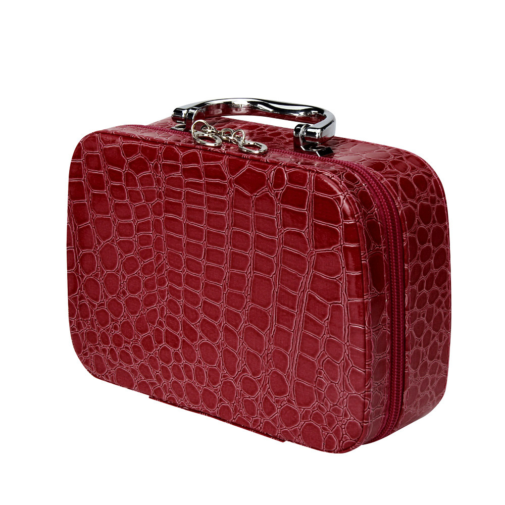 Makeup Box Fashion Makeup Storage Bag Case Jewelry Box PU Leather Travel Cosmetic Organizer Suitcase For Makeup Necessaire 7620 12 inch pu leather small suitcase floral decorative box with straps for women