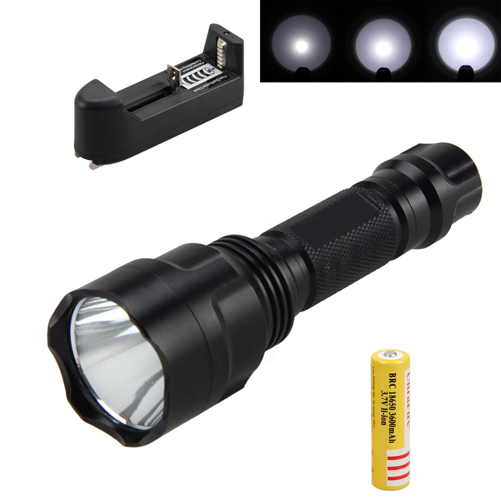 Waterproof  Hunting Light 2000Lumens Q5 LED Flashlight 5 Modes Torch Light Lamp with 18650 Rechargeable Battery and Charger