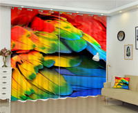 2017 Colorful feathers 3D Blackout Curtains For Living room Bedding room Decor Tapestry Wall Carpet Drapes Cotinas