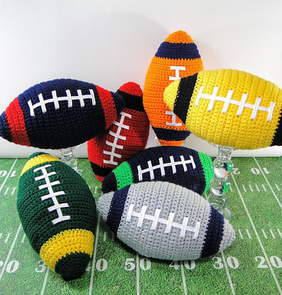 Amigurumi Football  Stuffed Rattle Toy