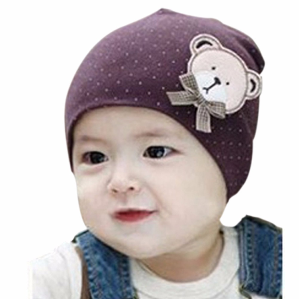 Newborn Baby Solid Color Cute Bear Hat Lovely Boys Girls Unisex Cotton Beanie Cap New Sale 2016 new baby unisex hat beanie with big bow infant girls and boys newborn hospital hat baby accessories