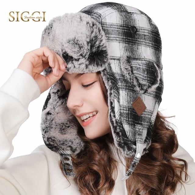 FANCET Winter Men Bomber Hat For Women Plaid Print Warm Faux Fur Decoration  Comfortable Knitted Russian Skull 2019 New 89079 41de8a45612