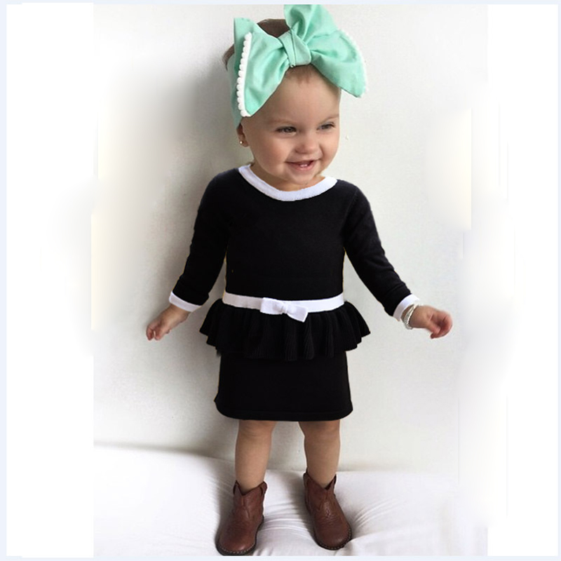 New 2016 Spring Autumn Girl Princess Sweater Dress Cute Cotton Knitted Red/Black Baby Kids Knee-Length Dress For Infant 4 new fashion baby girl cotton clothes kids girl thick warm cotton dress cute cartoon cat hooded girl dress spring autumn winter