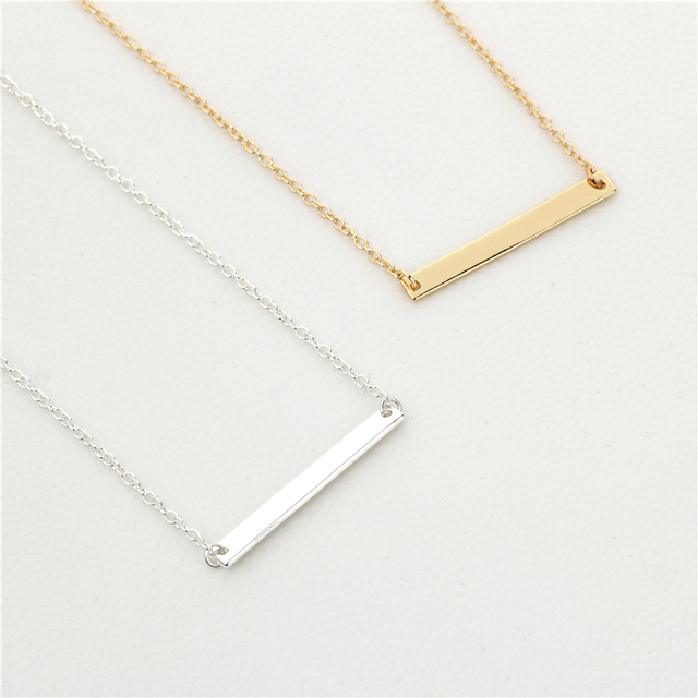 50pcslot new classic simple bar necklace jewelry goldsilver bar 50pcslot new classic simple bar necklace jewelry goldsilver bar pendant necklace for aloadofball Images