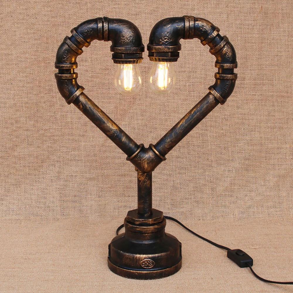 Industrial Steam Punk Pipe heart desk Lights lamp modern e27/e26 110V 220V sconce for bedroom bedside workshop office bar cafe|desk light|light desk lamp|desk lamp modern - title=