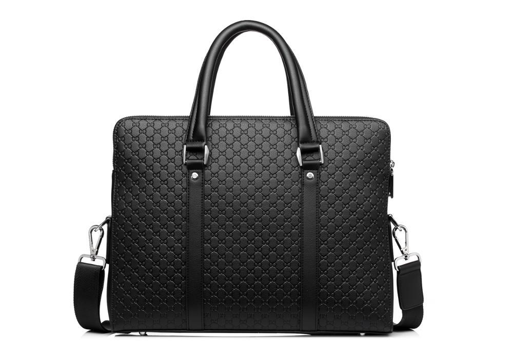 Doble capa de microfibra de cuero sintético de los hombres Maletín de negocios Casual bolso de hombro bolsa de mensajero portátil bolso de viaje - 2