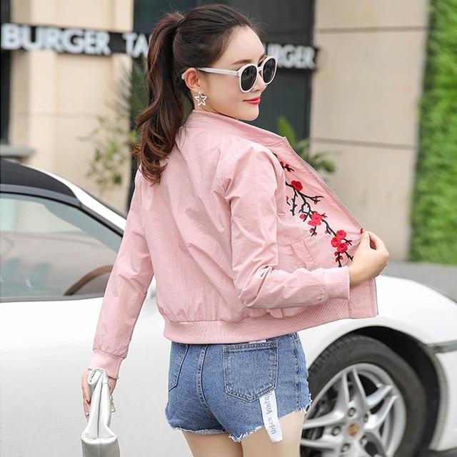 women basic coats 2018 spring summer fashion cropped embroidery bomber jacket ladies thin cropped baseball jackets bombers 1