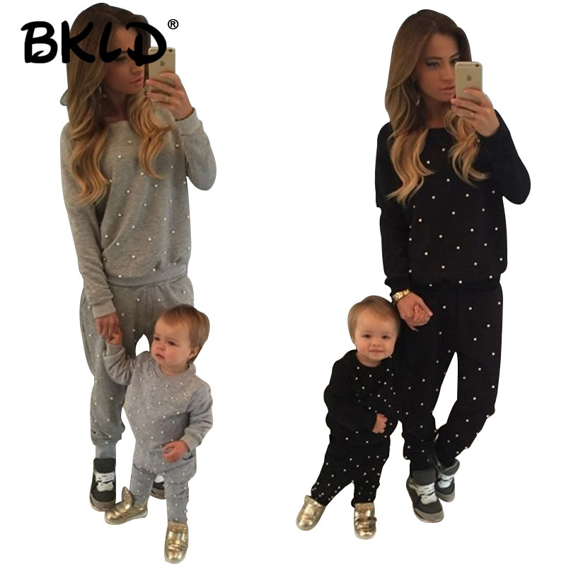 BKLD Hot Sale 2018 Autumn Casual New Solid Suits Women Tracksuits Fashion O-Neck Long Sleeves 2PCS Women Sets Without Baby Set