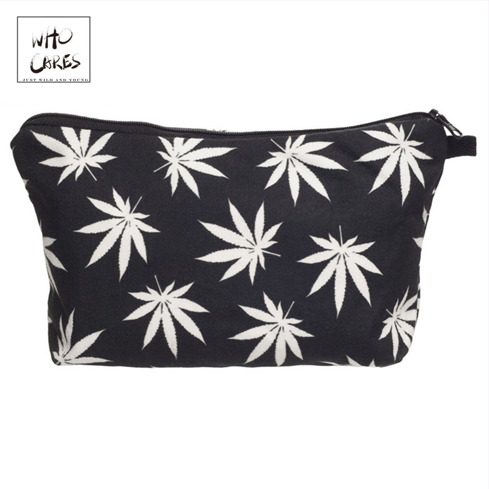 Who Cares Fashion Printing Maple Leaf Makeup Bags Cosmetic Organizer Bag Pouchs For Travel Lady Pouch Women Cosmetic Bag