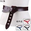 Moda da menina nó em merece para atuar o papel de pele cinto de couro do couro puro coringa obi casaco da cintura decoração V362
