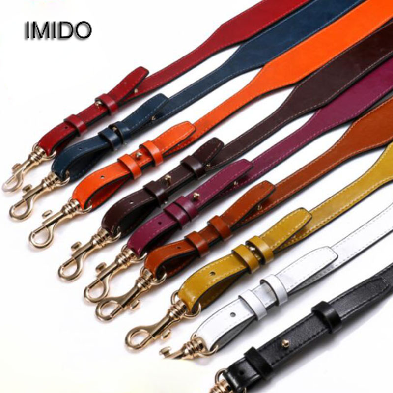 IMIDO Women replacement straps Genuine leather shoulder belt bag handbags accessories parts for bags ornament Black Brown STP054 6 pcs lot diy hardware plating processing leather handbags straps on both sides of the chain belt buckle decorative accessori