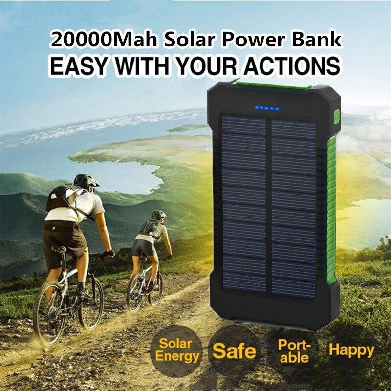 Nueva prueba de agua 20000 mAh Banco Portátil de Energía Solar cargador de viaje