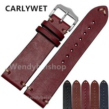 CARLYWET 20 22mm Man Women Handmade C Leather Brown Black Red Blue VINTAGE Wrist Watch Band Strap Belt Silver Polished Buckle