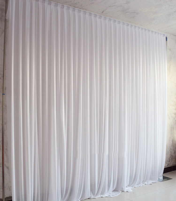 Simple White Ice Silk Wedding Backdrop Event Party Drape Curtain For Home Decoration 10ft