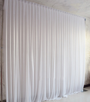 Simple White Ice Silk Wedding Backdrop Event Party Drape Curtain for Wedding Party Home Decoration 10ft*10ft