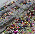 Atacado All-purpose 3D Colorida Multi Em Forma Mista Enfeites de Metal Caixa de Jóias Da Arte Do Prego Pregos Decalques Frete Grátis