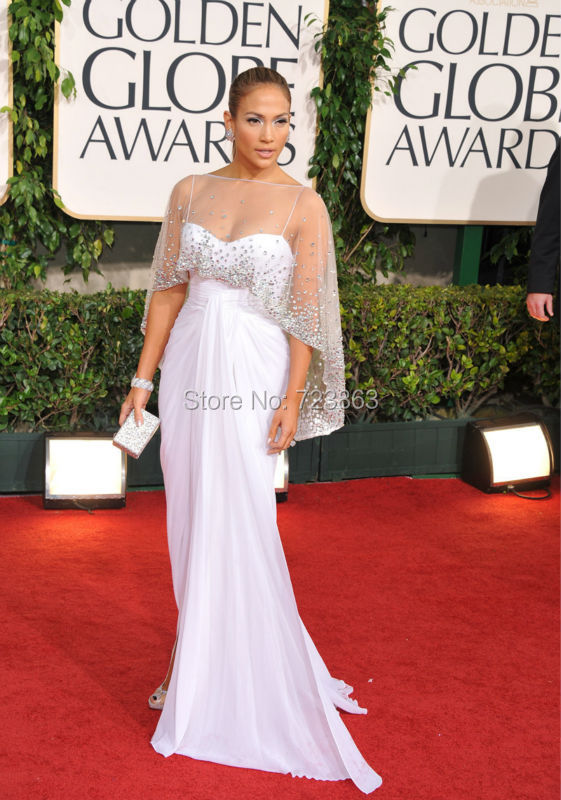 Jennifer-Lopez-White-Dress-2015-Golden-Globe-Awards-Red-Carpet-Dress-3D-Chiffon-Celebrity-Dresses-With
