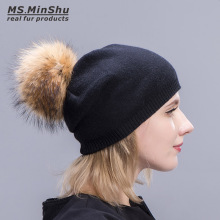 Ms.MinShu Knit Cashmere Cap with Raccoon Fur Pompom Elastic Beanies Fur Hat Winter Women Bobble Hat With Big Fox Fur Ball