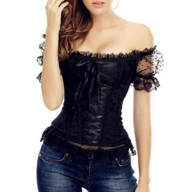 6eb6cb6e42 Black Lace Bustier Lace Up Corset Off The Shoulder Brocade Short Puff  Sleeve Overbust Steel Boned Bustier Top S-XXL