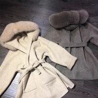Кашемировых курток Для женщин женские ручной работы Для женщин лисий меховой воротник Шерстяное пальто Повседневное Зимняя шерстяная курт