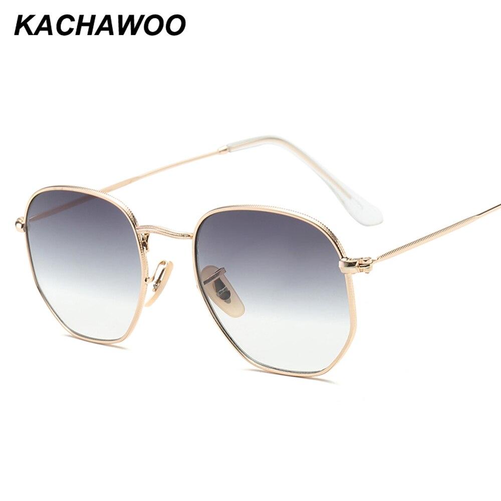 Kachawoo Retro Square Sunglasses Men Gradient Clear Lens Metal Frame Black Red Small Sun Glasses For Women Summer 2018 UV400