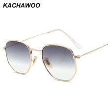 Kachawoo retro square sunglasses men gradient clear lens metal frame black red small sun glasses for women summer 2018 UV400(China)
