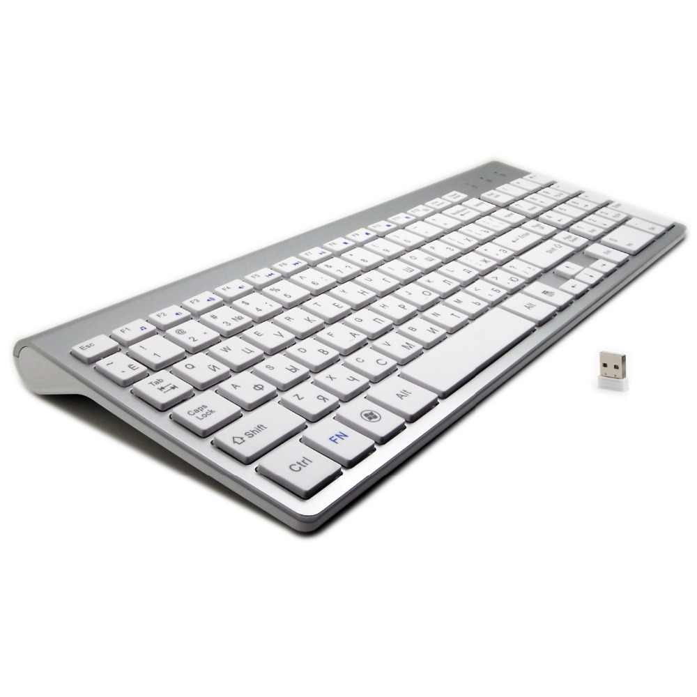 101 Kunci Ultra-Thin Bahasa Rusia Keyboard 2.4G Hz Nirkabel Bisu Keyboard Teclado Gamer untuk Mac Win XP 7 10 android TV Box