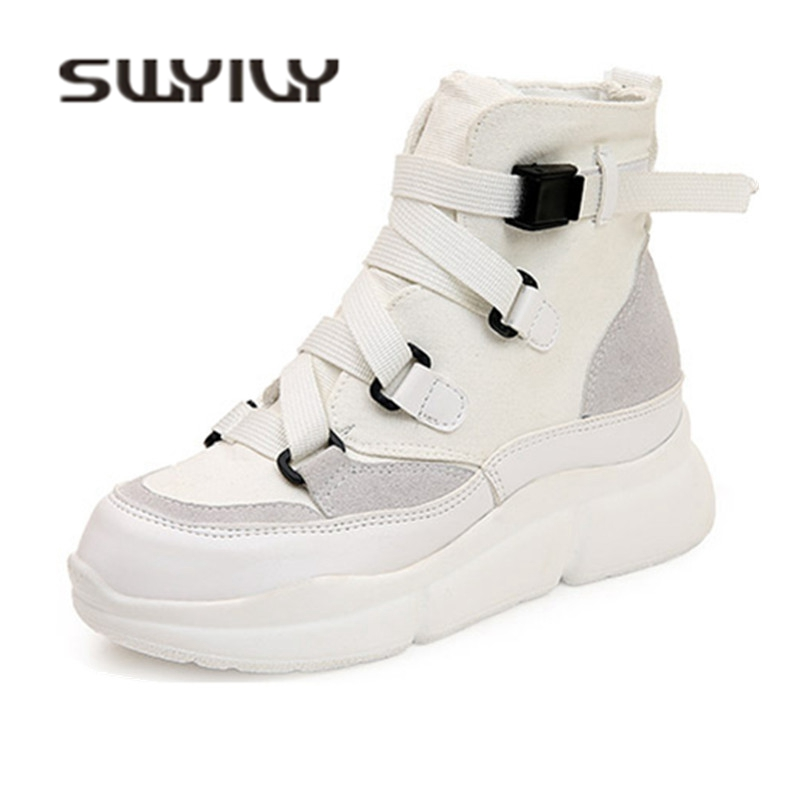 SWYIVY Woman Sneakers High Top 2019 Spring Autumn New Bandage Belt Female Fashion Casual Shoes Platform White Sneakes Woman