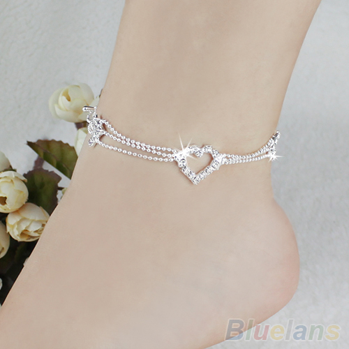 Charm Silver Plated Bead Anklets for Women Ankle Bracelet Chain Crystal Foot Jewelry 1RVK