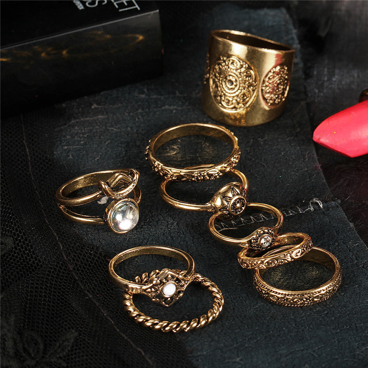 HTB1I8dtQVXXXXbsXVXXq6xXFXXXV 9-Pieces Antique Style Turkish Knuckle Ring Set For Women - 2 Colors