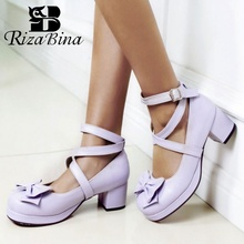 RizaBina Plus Size 30-48 Women Pumps Cross Strap Buckle Bowkont Lolita Thick Heel Shoes Daily Club Round Toe Brand