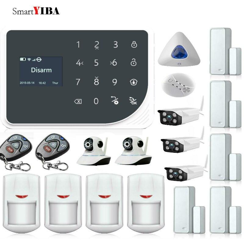 SmartYIBA 433MHz Wireless GSM WIFI DIY Smart Home Security Alarm System Kit Wireless Siren Outdoor IP Camera Smoke Fire Sensor