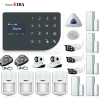 SmartYIBA 433MHz Wireless GSM WIFI DIY Smart Home Security Alarm System Kit Wireless Siren Outdoor IP Camera Smoke Fire Sensor