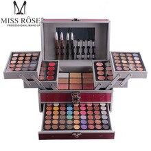미스 로즈 190 색상 전문 메이크업 세트 피아노 알루미늄 박스 아이 섀도우 파우더 립글로스 블러쉬 다기능 화장품 도구