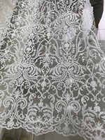 beaded embroidered lace fabric high quality Nigerian tulle lace fabric for bridal dress