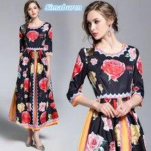 High Quality Printing Dress Autumn Women Vintage A Line Zippers Hal Sleeve Loose Dresses Slim Femme New Design 2018