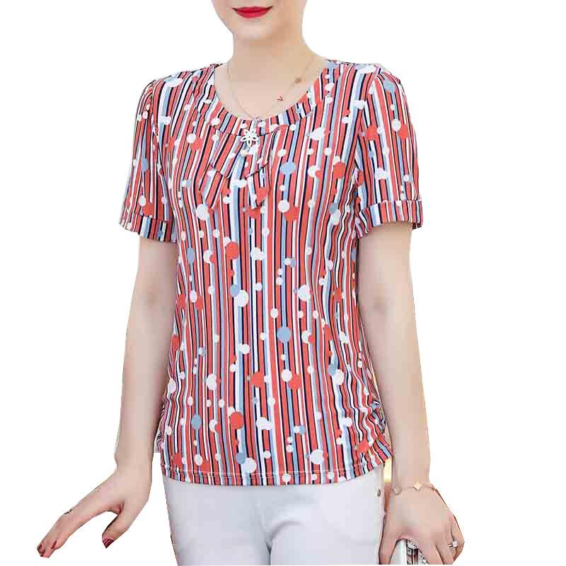 2019 Novas mulheres blusas de verão camisas casual imprimir o pescoço de manga curta roupas femininas blusas mujer de moda