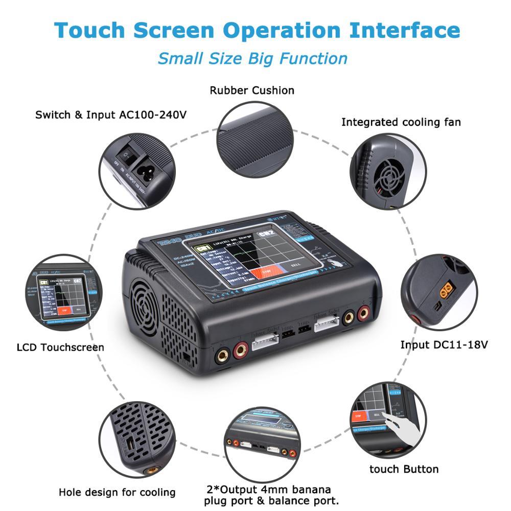 Oyuncaklar ve Hobi Ürünleri'ten Parçalar ve Aksesuarlar'de HTRC T240 DUO AC 150 W/DC 240W dokunmatik ekran çift kanallı 10A RC şarj dengeleyici boşaltmalar için LiPo liHV LiFe Lilon NiCd NiMh Pb'da  Grup 3