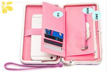 1 piece big capacity bow womens wallet card holder cellphone pocket PU leather money bag day clutch with many slots