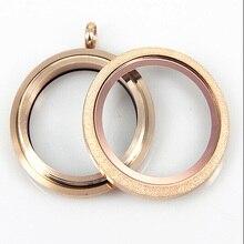 Medallón flotante de acero inoxidable de oro rosa a prueba de agua con tornillo de chispa medallón de vidrio vivo flotante para niñas 10 uds