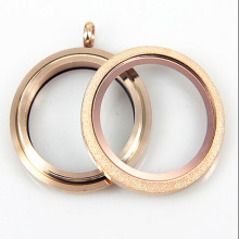 Waterproof Rose Gold Stainless Steel Floating Locket Pendant Sparkle Screw Living Glass Floating Charm Locket For Girls 10pcs