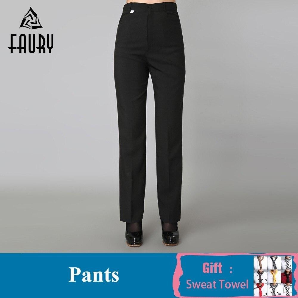Women Black Work Pants Pockets Business Suit Pants Catering Restaurant Kitchen Chef Waitress Wear Uniforms Pant Free Scarf Gift