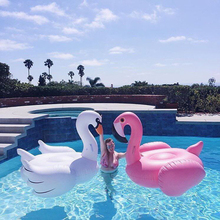 купить Inflatable Flamingo Swimming Pool Float Summer Island Giant Ride on White Swan Swimming Lifebuoy Lounge Inflatable Pool Toy Raft по цене 2309.27 рублей