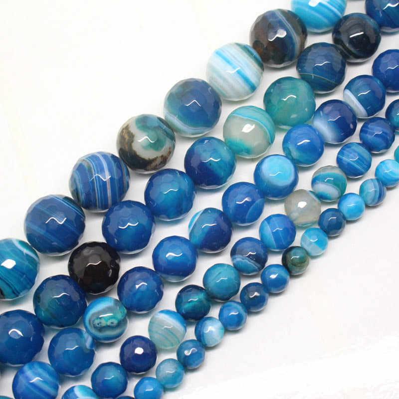 2-16mm natural redondo facetado azul bandded ágata listra onyx contas para fazer jóias contas 15 neeneeneedlework diy grânulos trinket