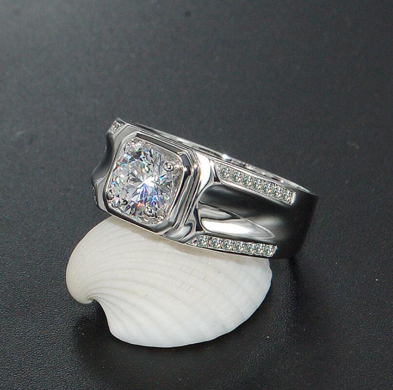 Bague Diamant homme 1 Carat bague de mariage en argent Sterling 925 bague Couple S925 bagues (LMYS)